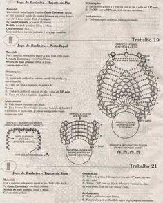 Juego de toilette tejido al crochet - con patrones y diagramas | Crochet y Dos agujas