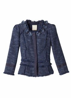 Tweed Jacket-Classically chic, this polished tweed jacket updates a timeless style with feminine detailing like eyelash fringe trims and bead-dotted rosettes at the collar. Tailored, cropped fit & concealed snap button closure. Runs small — size up for the proper fit.(lethimydung-fd1a1)