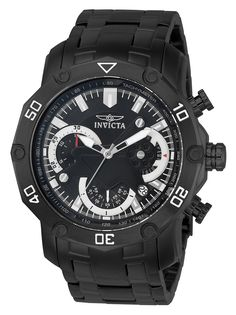 725336579ea3 Invicta 22763 Men s Pro Diver Black Dial Black IP Steel Bracelet  Chronograph Watch