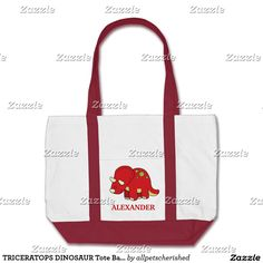 TRICERATOPS DINOSAUR Tote Bag - add a NAME!