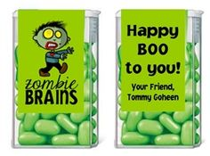 CUTE HALLOWEEN PARTY FAVORS! Halloween ZOMBIE BRAINS WALKING DEAD Tic Tac Mints Party Favor Idea. Personalized Candy Labels - Fun Halloween party idea or to hand out to trick or treaters!