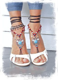 Boho LOVE barefoot SANDALS Toe thongs Turquoise HEART by GPyoga, $74.00