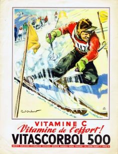 Vitamin C - Skiing, 1930s - original vintage poster by Paul Ordner listed on AntikBar.co.uk