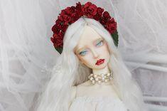 Red Queen flower crown handmade headband headdress headwear