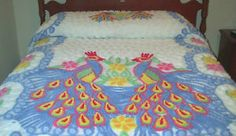 Vintage Peacock Chenille Bedspread White Blue Pink Yellow Green Double Queen