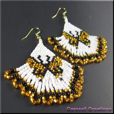 Monarch Butterfly Beadwork Dangle Seed Bead Earrings by carosell, $28.00