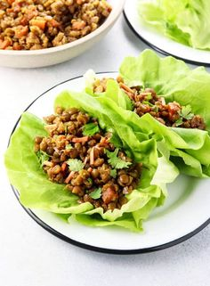 These Vegan Thai Lettuce Cups are loaded with a Green Split Pea filling for plant-based protein. They taste like PF Chang's without the meat! #sponsored by USA Pulses & Pulse Canada