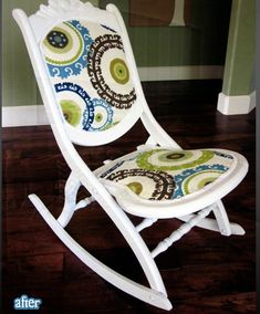Inspiration board at Grandma's House DIY of stunning rocking chair makeovers and before and afters Retro Furniture, Refurbished Furniture, Furniture Makeover, Painted Furniture, Diy Furniture, Furniture Design, Chair Makeover, Chair Redo, Urban Furniture