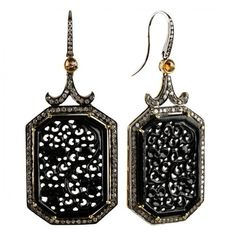 Naz Carved Black Jade Earrings (Onyx) ($6,000) ❤ liked on Polyvore featuring jewelry, earrings, accessories, onyx jewelry, onyx earrings, earrings jewelry, carved jewelry and black onyx earrings