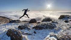Sometimes trail-running conditions are so incredible you just have to leap! North Table Mountain, Golden, Colorado, March. Photo submitted by Andrew Terrill