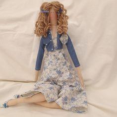 Tilda Doll - Denim blue toile fabric outfit