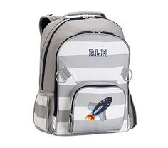 Large Backpack, Fairfax Gray/ White Stripe, Rocket