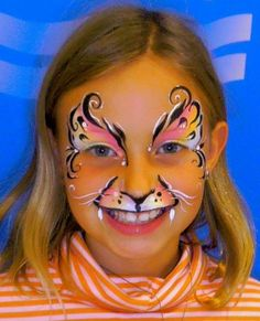 cute cat and butterfly blend face painting design.