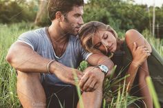 Relaxed young couple sitting by Jacob Lund Photography on @creativemarket