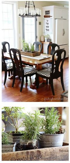 Finding Fall Home Tour – Fall Decorating Ideas - Finding Home *** I love this little wall in the dining- hang a towel, cutting board, old little chalkboard Table And Chairs, Dining Table, Dining Rooms, Room Chairs, Dining Area, Modern Kitchen Wall Decor, Kitchen Ideas, Fresh Farmhouse, Farmhouse Design