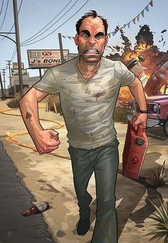 GTA V – Trevor Philips - Amazing Comic Illustrations by Patrick Brown San Andreas, Patrick Brown, Trevor Philips, Grand Theft Auto Series, Comics Illustration, Saints Row, Brown Art, Video Game Art, Video Games
