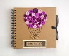 Hand Decorated Button Balloon Wedding Guest Book £27.95