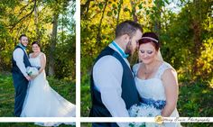 Real Indiana wedding at the Hendricks County Fair Grounds and Cartlidge Barn | Bride and groom by ceremony space white flower bouquet grey belt groom in blue bow tie | (c) Brittany Erwin Photography