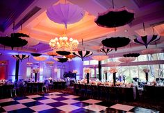 Hanging umbrellas, checkered dance floor Photo: // Design: Liv by Design Reception Decorations, Event Decor, Umbrella Dance, White Umbrella, Black And White Theme, Black White, Best Dance, Country Club Wedding, Here Comes The Bride