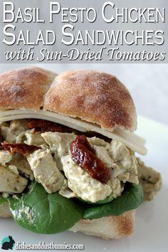 Basil pesto chicken salad sandwich from dishesanddustbunnies.com