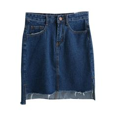 Dark Blue Dip Hem Tube Denim Mini Skirt (1.075 RUB) ❤ liked on Polyvore featuring skirts, mini skirts, hi low skirt, short denim skirts, short in front long in back skirt, blue skirt and denim skirt