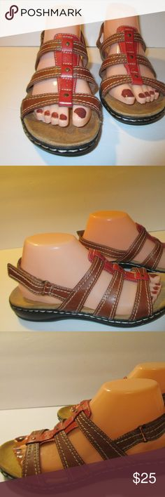 Clarks Collection Brrown Red Leather Sandals 8M