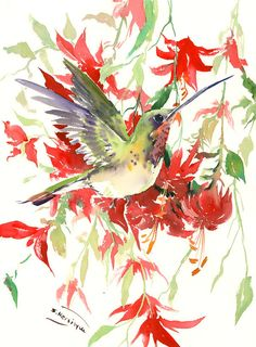 Hummingbird painting, 16 x 12in,bright color flowers, original watercolor red…