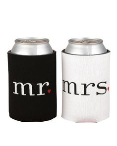 Keeping your beverage cold  in the outdoors can be a challenge when camping in warm weather. Koozies are great for cold drinks in cans and small bottles. We particularly love this Mr. and Mrs. Can Coolers Set and especially the little red hearts used for punctuation.