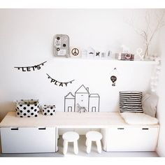 sort of bench/reading area with storage underneath could be fun in here. mommo design: IKEA HACKS FOR KIDSSome sort of bench/reading area with storage underneath could be fun in here. mommo design: IKEA HACKS FOR KIDS