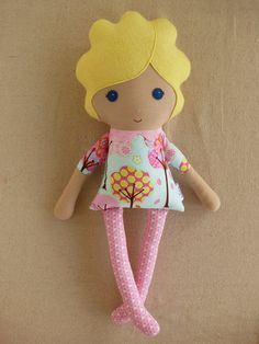 Fabric Doll Rag Doll Blond Haired Girl in Whimsical by rovingovine, $34.00