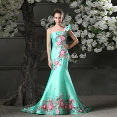 Aqua blue chinese mermaid style dress