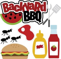 Backyard BBQ - SVG scrapbooking files, red blob in middle = steak. overlap red & larger white might work