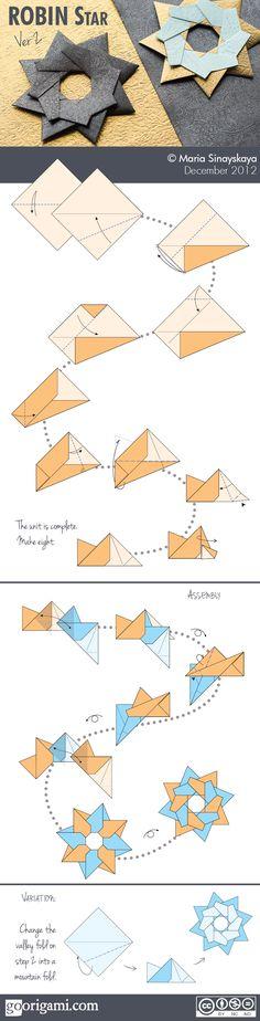 Robin Star (ver 2, Dec 2012) Type: modular origami star Designer: Maria Sinayskaya Units: 8