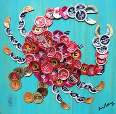 """Beer/Bottle Cap Red Crab on Turquoise Wood, 12"""" x 12""""  Ready to Hang, Signed Original, Kay Galloway (Kay's Cap Art) $75.00"""