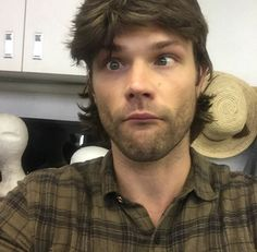 Jared wearing Misha's stunt double's wig! (Anybody else think he looks like Patrick Swayze in the 80s?! Lol)