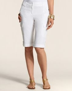 Put on a comfy pair of Bermuda length shorts to keep your casual fashionable. (via @Love Chico's www.chicos.com)