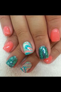 Swirls, coral, & turquoise!!!