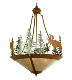 Meyda Tiffany Wandering Moose Inverted Pendant