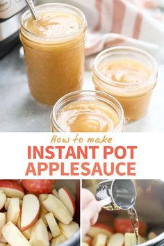 This INSTANT POT APPLESAUCE is my kids' favorite! My easy no-peel method has no added sugar and takes just a few minutes of hands-on time. Also includes tips for making chunky homemade applesauce. #instantpot #applesauce