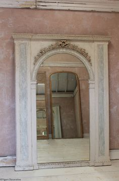 """""""French Style Edwardian Mirror"""" - Antique Interior Painted Mirror Interior Paint, Home Interior, Interior Design, House Wall, My House, Mirror Painting, Mirror Mirror, Antique Interior, Look In The Mirror"""