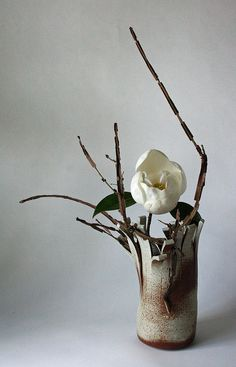 Ikebana  Magnolia and winged euonymus by sogetsudc on Flickr
