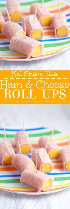 Ham and Cheese Roll Ups are an easy and healthy snack for kids and toddlers. Lots of protein! Just add fruits and veggies on the side! kids snacks Ham and Cheese Roll-ups- Toddler Snack Idea Ham And Cheese Roll Ups, E Claire, Party Fiesta, Toddler Lunches, Toddler Food, Food For Toddlers, Easy Toddler Snacks, Kid Lunches, Food Kids