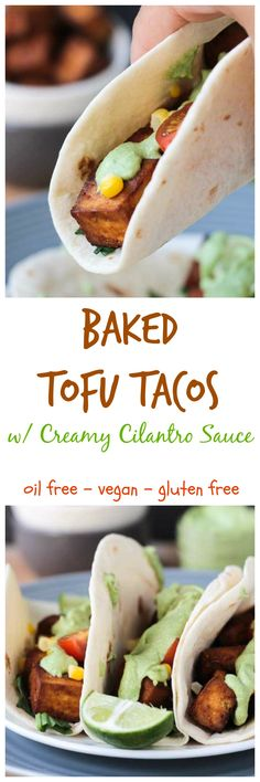 Baked Tofu Tacos - high protein vegan tacos that are easy enough for any day of the week. This tofu is oil-free and baked, not fried! Paired with some fresh toppings and Creamy Cilantro Sauce, I promise you'll be back for seconds!