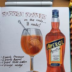 Waiting for summer 🍹In the mean time - Aperol Spritzzzzzz 🍹😀#sketch #foodillustration #drinks🍹 #copicsketch #copics #copicmarker #markerspro_maxgoodz #maxgoodz_sketchbooks  #cansonpaper #cansonthewall  #summertime #aperolspritz