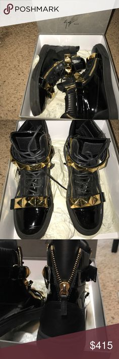 Giuseppe Zanotti- Men's Black and gold detail, size 45= 11 US, great condition, includes shoe box Giuseppe Zanotti Shoes Sneakers