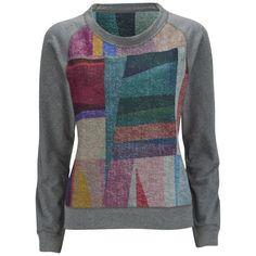 Paul by Paul Smith Women's Reversible Print Sweatshirt - Grey/Multi ($120) ❤ liked on Polyvore featuring tops, hoodies, sweatshirts, raglan top, gray sweatshirt, sweatshirts hoodies, gray crewneck sweatshirt and print sweatshirt