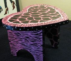 Step Stool painted hot pink and black by SofiasCottageDestash, $30.00