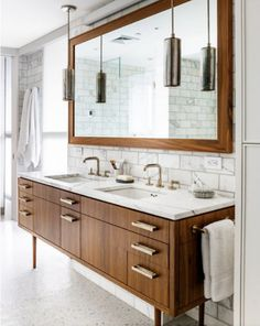 love the marble subway tiles and the console/vanity
