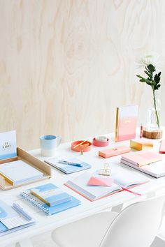 Be Brave with this gorgeous peach and ice blue watercolour stationery collection featuring journals, notebooks and more