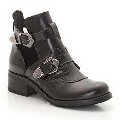 Open Leather Boots with Side Buckle Fastening SOFT GREY : price, reviews and rating, delivery. Added bonus: the openwork sides.